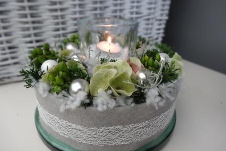 Kerst taartje zilver met licht