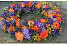 Rouwkrans oranje-paars